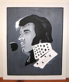 "Painting of Elvis Presley in 1970s. Original Acrylic. 24"" by 20""."