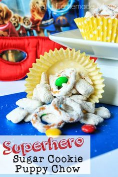 """""""Superhero"""" Sugar Cookie Puppy Chow - classic Puppy Chow made with sugar cookie mix! Plus, customize the MMs to match any holiday or party theme!"""