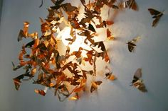 Attracted to light- lazer cut copper moths swarm around the light, beautiful.  Mischer Traxler