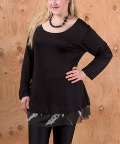 Love this Black Lace-Hem Scoop Neck Swing Top - Plus on #zulily! #zulilyfinds