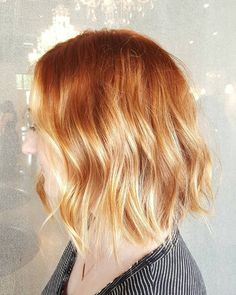 Strawberry blonde bob copper blonde balayage, ombre hair copper, red to blonde ombre, Copper Blonde Balayage, Red Blonde Ombre, Blonde Ends, Brown Ombre Hair, Ombre Hair Color, Balayage Hair, Ombre Bob, Strawberry Hair, Strawberry Blonde Hair Color