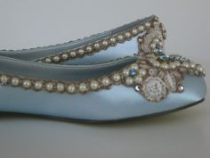 """""""something blue"""" wedding flats. Cinderella meets Marie Antoinette. I could DIY something like this"""