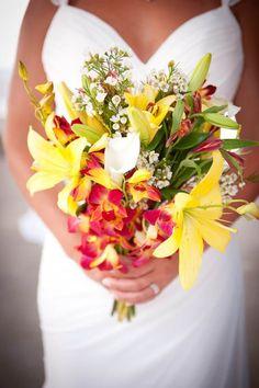 Stunning tropical bouquet for a #destinationwedding in the Bahamas