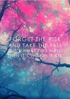 """""""FORGET THE RISK and the the FALL If It's What You Want Then It's Worth It ALL"""" Print Poster 12"""" x 8"""" NEW Motivational Inspirational Quote Home Wall Decor Wisdom"""
