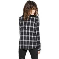 SAINT LAURENT Plaid Wool Flannel Shirt (11.994.400 IDR) ❤ liked on Polyvore