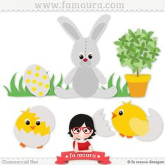 Template rabbit and chickens in the garden by Fa Maura