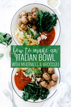 Bowls are the new plates. This Meatball Italian Bowl will be your new lunch go-to. Savory marinara, heart meatballs, fresh broccoli, and simple pasta come together in a buddha-style bowl that is healthy and delicious. Quick Vegetarian Dinner, Healthy Dinner Recipes, Vegetarian Recipes, Savoury Recipes, Delicious Recipes, Shredded Chicken Recipes, Pork Recipes, Italian Bowl, Italian Meatballs
