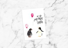 Your place to buy and sell all things handmade Valentine Love Quotes, Valentines Card Design, Valentine Cards, Printable Postcards, Unique Cards, Couple, Better Together, Love Cards, Penguin