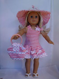 Striped dress with hat and matching purse on ebay