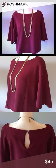 "NWT Eri + Ali Maroon ""Viv"" Statement Sleeves Large Must-have fall wardrobe piece 👌🏻 brand new with tags//never worn!  cute sleeves// well-paired with your favorite leggings or skinny jeans & a necklace// stretchy thick material perfect for the cool fall weather//maroon/wine color//  95% polyester 5% spandex Anthropologie Tops"