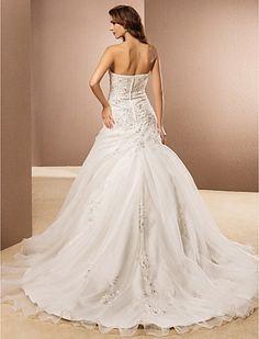 Ball Gown Strapless Chapel Train Organza Wedding Dress - GBP £ 144.89