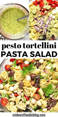 This Pesto Tortellini Pasta Salad is loaded with cheese tortellini, tons of veggies, and plenty of fresh mozzarella – all tossed in a super simple pesto vinaigrette. Whether you need a quick salad for your next backyard barbecue, an easy meal prep recipe, or just something different for lunch today, this tortellini salad will quickly become a family favorite! Pasta With Olives, Pasta Salad With Tortellini, Pesto Pasta Salad, Cheese Tortellini, Homemade Pesto, Salad Recipes, Yummy Recipes, Lunch Meal Prep, Summer Salads