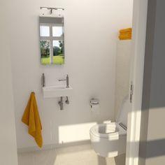 Clou - Flush concept toletruimte. Deze toilet heeft een hangtoilet uit de Flush serie evenals de fonteinkraan (Plus Version). Verder bevat deze ruimte een Look At Me spiegel, Sjokker zeepdispenser en badkamerverlichting uit Shine On ME serie, allen van Clou.