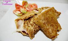 Crepes di farina di ceci con prosciutto e formaggio
