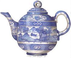 Operetta Teapot 10 x 10 lithograph by CShoresInc on Etsy, $15.00