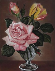 """by Mikhail Vedernikov - Original pastel drawing """"James Noble Roses"""" ___________________________________________ A copy of the artist James Nobel _________________________________. Rose Oil Painting, Watercolor Paintings, Art Floral, Still Life Flowers, Pastel Drawing, Drawing Flowers, Rose Art, Yellow Roses, Paintings For Sale"""
