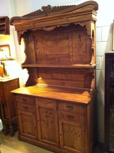 "Vintage ""Eastlake"" Maple Kitchen Dresser C1909. A lot of these pieces were crafted in the Atlantic Provinces of Canada."