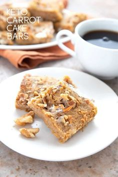 Titled image of two keto carrot cake bars on a white plate with a cup of coffee in the background. Low Carb Deserts, Low Carb Sweets, Keto Desert Recipes, Keto Recipes, Keto Foods, Yummy Recipes, Healthy Recipes, Carrot Cake Bars, Sugar Free Treats