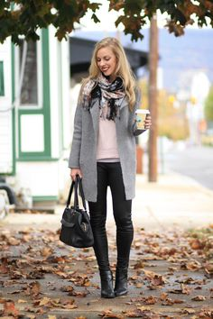 Layered Warmth: LOFT gray sweater coat, gray car coat, light pink sweater, blush pink and gray, floral scarf, 7 for all mankind leather legging jeans, black leather ankle boots and leather pants, fall layers, blush pink and black, fall layered outfit