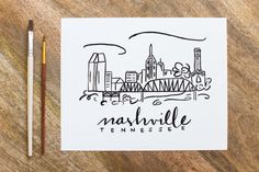 Items similar to Nashville Skyline Watercolor Painting - print - Perfect Holiday Gift! on Etsy Nashville Tattoo, Nashville Art, Nashville Skyline, Skyline Painting, Skyline Art, Diy Painting, Watercolor Paintings, Skyline Tattoo, Bullet Journal Travel
