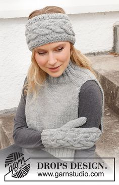Knit Headband Pattern, Knitted Headband, Knitted Hats, Bandeau Crochet, Knit Crochet, Drops Design, Fingerless Mittens, Knit Mittens, Free Knitting Patterns For Women