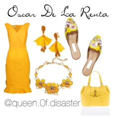 """In Yellow With Oscar"" by paulinka93 on Polyvore featuring Oscar de la Renta"