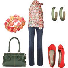 Green  Poppy Reds, created by jklmnodavis on Polyvore my-style