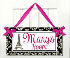 Eiffel Tower in black damask pattern door sign - Kids door signs - girls and teens Paris french decor - hot pink - Personalized Name. $15.99, via Etsy.