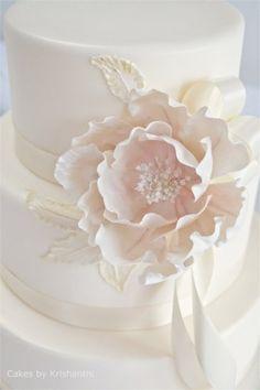Classic wedding cakes by krishanthi white ribbon