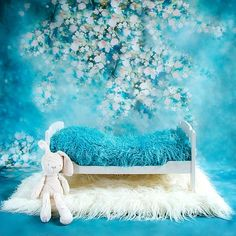 White wooden bed with blue blanket. Newborn Pictures, Baby Pictures, Baby Photos, Baby Boy Photography, Photography Props, Photo Backgrounds, Digital Backgrounds, White Wooden Bed, Foto Baby