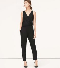 Wear with a denim jacket for a daytime look // LOFT Petite Pleated Jumpsuit in Black