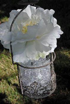 """13"""" Metal & Glass Juliet Antiqued Hanging Candle Holder $9"""