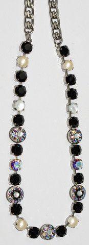 MARIANA NECKLACE BLACK/WHITE: black, white, a/b pearl stones in silver – European Accent