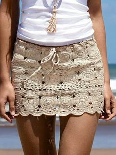Ibiza beach style, crochet mini skirt in creme with white top…