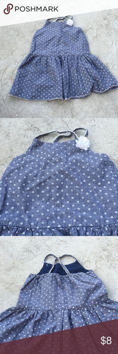 Girls Oshkosh dress Girls genuine kids by Oshkosh denim like polka dot dress. Size 5T. CRISS CROSS back Osh Kosh Dresses Casual