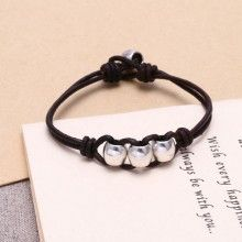7'' Zinc alloy  genuine black leather handmade fashion bracelet ETS-B451