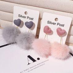 Sweet Cute Love Heart Mink Hair Ball Earrings Female Korean Version Earrings Taseel Pendant Earring Women Jewelry Wish Ear Jewelry, Cute Jewelry, Bridal Jewelry, Jewelry Accessories, Jewelry Necklaces, Silver Jewelry, Silver Rings, Marcasite Jewelry, Jewelry Making
