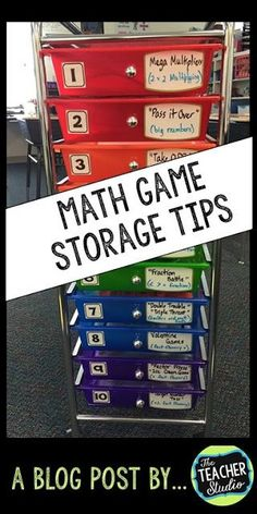 Keeping organized in math workshop is a key part of making math stations or centers work! This post has tips for keeping math games and math stations organized. Perfect for grade 2 math, grade 3 math, grade 4 math, grade 5 math. Maths Guidés, Math Classroom, Math Games, Teaching Math, Math Activities, Teaching Ideas, Subtraction Activities, Primary Maths, Secondary Math