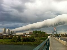 amazing roll cloud over Calgary, Alberta as seen on the morning of June 18, 2013. Roll clouds are a type of arcus cloud, they sometimes look like a horizontal tornado. Although these cylindrically shaped clouds look quite fierce and may be observed to roll about their horizontal axis, they don't usually generate dangerous winds. Roll clouds are typically found behind outflow boundaries but unlike shelf clouds are detached from any close-by cumulonimbus cloud.