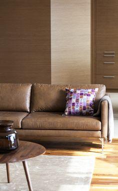 Elegant modern ECHO sofa.Feather-filled cognac full-grain leather. Yum!