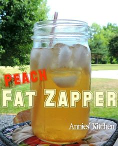 Peach Fat Zapper www.losewithskinnyfiber.com  This drink does exactly what its called!! Zaps fat!!!  And it is amazing!! I love peach Schnapps, But hate the calories and the sugar crash later. This drink satisfies me and gives me energy. And slims me down!  Steep 1 bag peach tea in 1 cup boiling water. let cool. Fill 4 cup mason jar with ice Add 3 Tbsp apple cider vinegar 1 Tbsp truvia or desired sweetener 1/4 tsp ground ginger Add peach tea and fill to top with water. Be amazed and ...