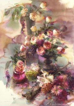 yuko nagayama watercolor more nagayama watercolor art watercolor . Art Floral, Watercolour Painting, Watercolor Flowers, Watercolors, Japanese Artists, Flower Art, Pastel, Art World, Drawings