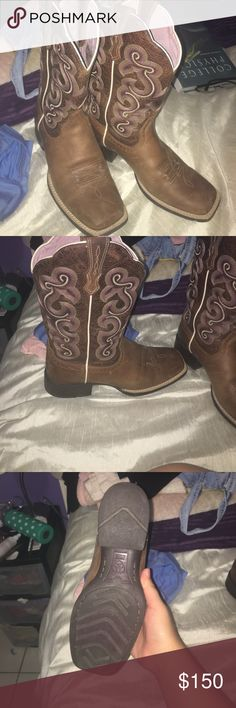 Cowgirl boots Their pink on the top and all brown square toe ! I'm selling them because I never used them and don't plan to use them, they're  beautiful and brand new from cavenders Ariat Shoes