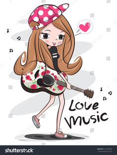 Happy teenage girl wearing cap holding an acoustic guitar with rose pattern isolated on white background illustration vector. Cartoon Drawings, Cute Drawings, Cartoon Images, Girl Clipart, Cute Girl Wallpaper, Illustration Girl, En Stock, Kids Prints, Cute Cartoon Wallpapers