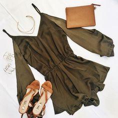 Style file ~ Khaki and satin crushing on the Frenso Playsuit #muraboutique #flatlay #khaki