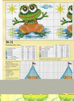EMBROIDERY – CROSS-STITCH / BORDERIE / BORDUURWERK – FROG / GRENOUILLE / KIKKER - frog