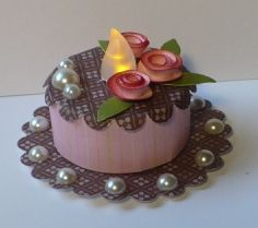 """Tea Light Birthday Cake with rolled roses - used 3/4"""" circles & cut in thin spiral."""
