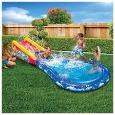8593         Banzai Inflatable Wave Crasher Surf Water Slide and Pool with Body Board