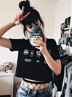 """""""Plants are friends"""" printed black crop top, oversized fishnet tights & denim jeans by origamikitten"""