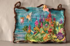 Needle felted Waldorf Wool Tapestry - The Fairy Feast 2-needle felt by Daria Lvovsky